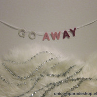 Pink Gradient Go Away Mini Glitter Banner by UnicornParadeShop