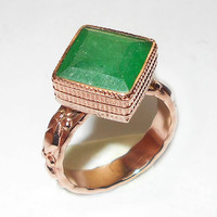 Emerald Ring - Green Corundum Ring - Handmade Ring - Square shape Ring - Bezel Set Ring - Vermeil Jewelry - Designer Ring - Daily Wear Ring