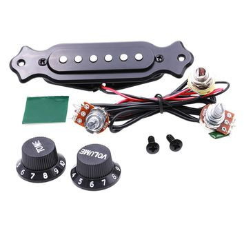 Guitar Copper Single Magnetic Coil Acoustic Guitar Pickup With Volume Tone Control with Knobs Mounting Screws Set