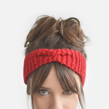Red headband, ear warmer, custom color / Hand knitted