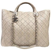 Chanel Taupe Python Large Shopper Tote