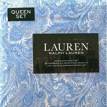 Ralph Lauren 4 Piece Queen Sheet Set Laura Jacobean Paisley Flowers Porcelain Blue Flo