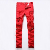 2017 Red White Black Ripped Denim Pants Knee Hole Zipper Biker Jeans Men Slim Skinny Destroyed Torn Jeans Fear Of God Jeans