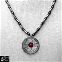 Wolf and Raven Coin Medallion on Polished Hematite Bead Necklace