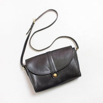 Vintage COACH Purse - RARE Pull Lock Closure Black Leather Adjus 6ecbca44b0cb1