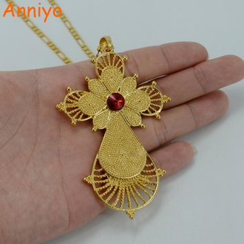 Anniyo 3 COLOR STONE / Ethiopian Big Cross Pendant Necklaces Gold Color Eritrea Jewelry Africa Ethnic Religious Crosses #031806