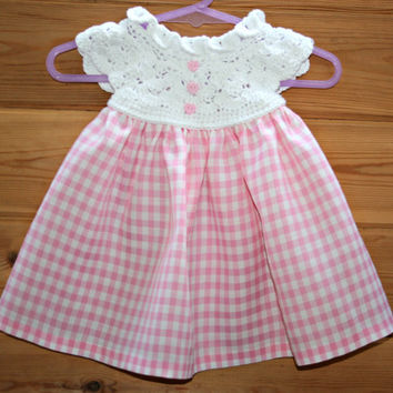 Trending, spring, baby, crochet, dress, crochet baby, dresses, white, crochet, yoke, pink, gingham, skirt, gifts, crochetyknitsnbits 3 -6m