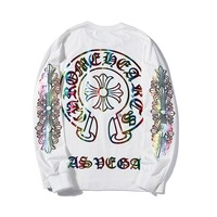 Chrome Hearts Early autumn fashion casual colorful printed thin section long-sleeved sweater
