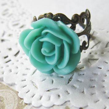 Mint Flower Cameo Ring - Filigree Green Rose Cabochon
