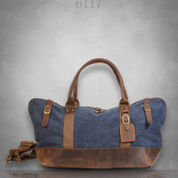 New Genuine Leather and Canvas Messenger Bag Duffel gym Tote Large travel business casual school holdall birthday gift
