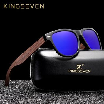 845562639b0e1 KINGSEVEN Handmade Black Walnut Sunglasses Mens Wooden Eyewear Women  Polarized Mirror Vintage Square Design Oculos de