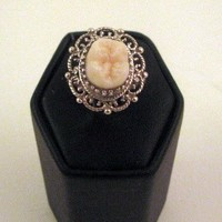 LOVED TO DEATH Memento Mori Genuine Human Tooth Ring Victorian Inspired Sterling Filigree Size 5 6 7 8 9
