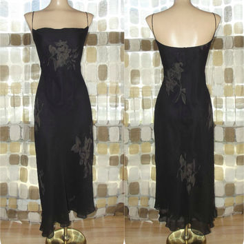 Vintage 90s Retro 30s Black & Tan SILK Floral Fishtail Bias Harlow Dress 12/M/L Sexy Flapper Gatsby Gown