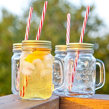 Mason Jar Mugs with Handle, Tin Lid and Plastic Straws. 16 Oz. Each. Old Fashion Drinking Glasses - Pack of 4. By Lily's Home®