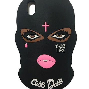 ONETOW VERYLULU Thug Life iPhone X Cases 3D Cute Cartoon Big Eyes Woman Face Masked Teared Girls Jesus Christian Cross Coque Soft Silicone Cover Case for Apple iPhone X (5.8')