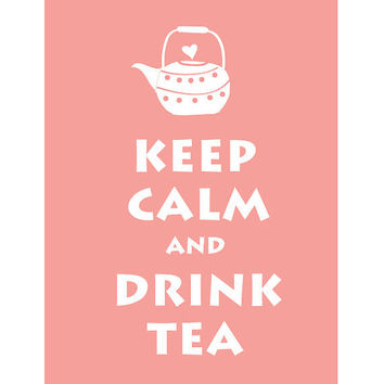 LARGE 13X19 Keep Calm and Drink Tea : Baby Pink Personalized custom Wedding Birthday Anniversary Gift Children Kids Home Decor