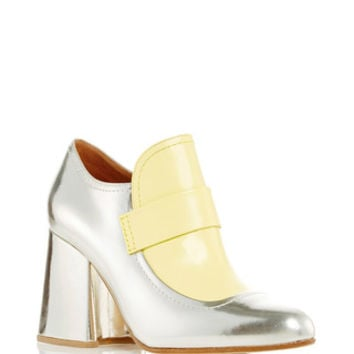 Silver And Light Yellow Moccasin