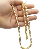 Men's hip hop alloy necklace full diamond single row of necklaces