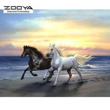 5D Diamond Painting Two Horse Sunset