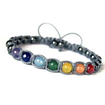 7 Chakras Yoga Unisex Shamballa Bracelet, Multicolor Natural Stone Jade Hematite, Rainbow Gray Adjustable Mens Womens Bracelet