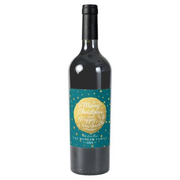 Turquoise & Gold Dots Christmas & New Year Script Wine Label