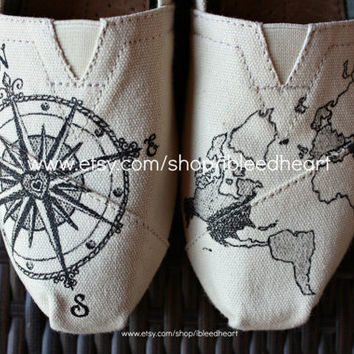Adult - Travel Compass and World Map - Custom Painted TOMS Shoes