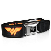 Wonder Woman Auto Seatbelt Buckle Black Strap Belt, Official Licensed