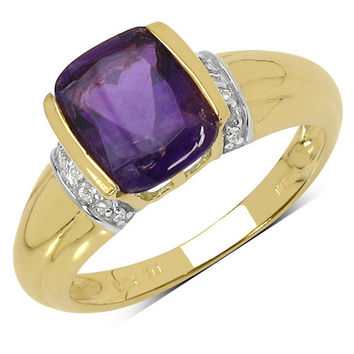 14K Yellow Gold Plated 1.87 Carat Genuine Amethyst & White Topaz .925 Sterling Silver Ring