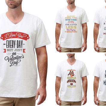 Quote-2 Printed Cotton Short Sleeves V-neck Men T-shirt MTS_02
