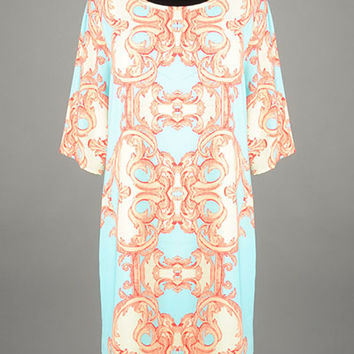 Peach Love California Aqua Baroque Print Dress with Lace Trim