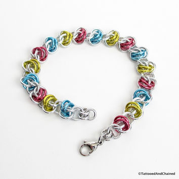 Pansexual pride bracelet, chainmaille barrel weave