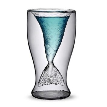 GlowHi Creative personality mermaid handmade glass cup ice cream cup double high-temperature glass of red wine 4.23 OZ (2)