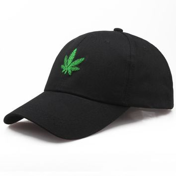 Trendy Winter Jacket 2018 Hat Men Women Baseball Cap Snapback Fashion Hemp Green Leaves Embroidery Cap Green Hat Camo Sun Hat Cotton AT_92_12