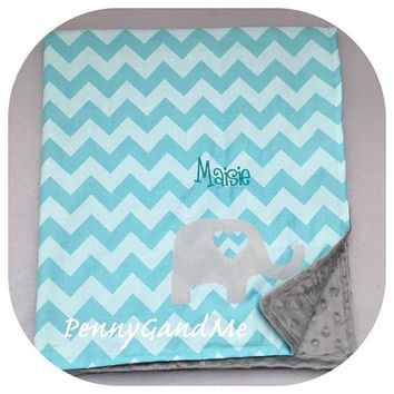 Personalized Elephant Baby Blanket ~ Elephant Minky Blanket ~ Flannel and Minky Elephant Blanket ~ Elephant Baby Shower Gift ~ Toddler Size