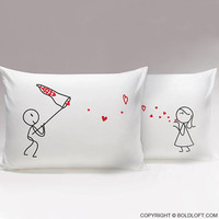 Catch My Love™ His & Hers Matching Couple Pillowcase Set,Cute Gifts for Him for Boyfriend,Valentines Day,Birthday,Anniversary,Christmas Gift