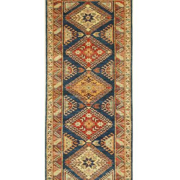 EORC Hand-knotted Wool Blue Traditional Geometric Super Kazak Rug