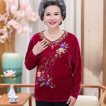 velvet long sleeves top autumn new middle old age women printed pullover tshirt plus size v-neck bottoming shirt grandma clothes