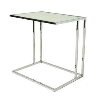 Pastel Norway End Table - Chrome Base - White Glass Top