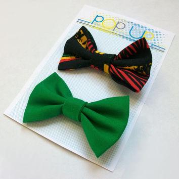 Rasta Hair Bow Set / Bob Marley Inspired Hairbows / Black & Green Bow Clips