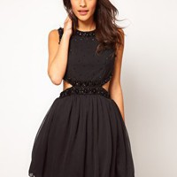 ASOS Embellished Party Dress With Cut Outs at asos.com