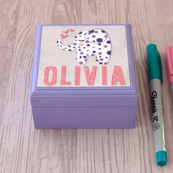 PERSONALIZED Sleepy Elephant Box painted in your choice of color - Magnetic Lidded Wooden Jewelry Box - Customize with Name or Monogram