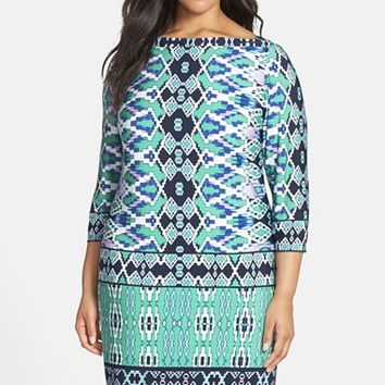 Plus Size Women's Eliza J Print Matte Jersey Shift Dress