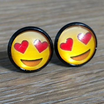 Emoji earrings-  Face with heart shaped eyes- in black earrings