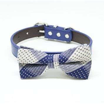 Royal Blue Dog Bow tie collar, Royal blue bow, Plaid bow, Pet wedding accessory, Something blue