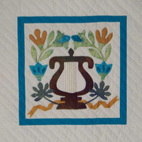 Quilted wall hanging -  Lyre with Flowers  - Aqua and Gold colors -  Hand Applique - Wall Art -  Ready to Hang