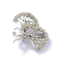 Flower Bouquet Brooch Pin With Clear Rhinestones In Silver Tone, Bridal Jewelry