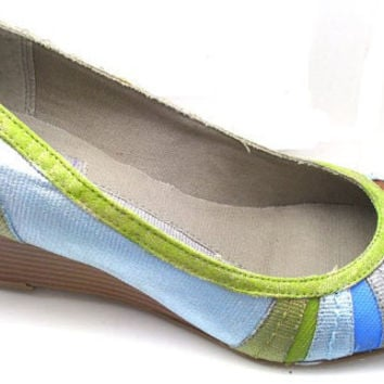 Color Block Boho ShoesHand Painted Wedges by SignatureSparkles