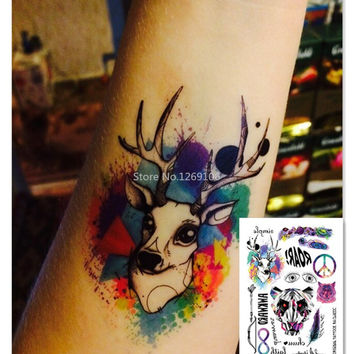 2016 Multi-style Fashion Cool Temporary Tattoo with Tiger and Deer 21x15cm