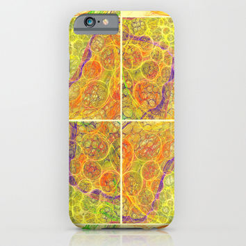 Surreal fractal squares and bubbles colorful mesh abstraction. Unusual geometric art. iPhone & iPod Case by Natalia Bykova