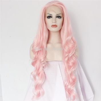 Athena-Pink Glueless Heat Resistant Body Wave Hand Tied Cosplay Synthetic Lace Front Wig